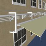 工場通路上屋オーニング工事 3Dイメージ