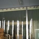 低温倉庫前のアコーディオンカーテン
