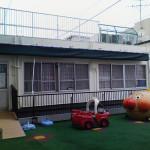 保育園の屋上テラス紫外線避けスクリーン工事1