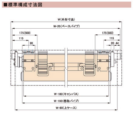 スタンダードタイプ 標準構成寸法図