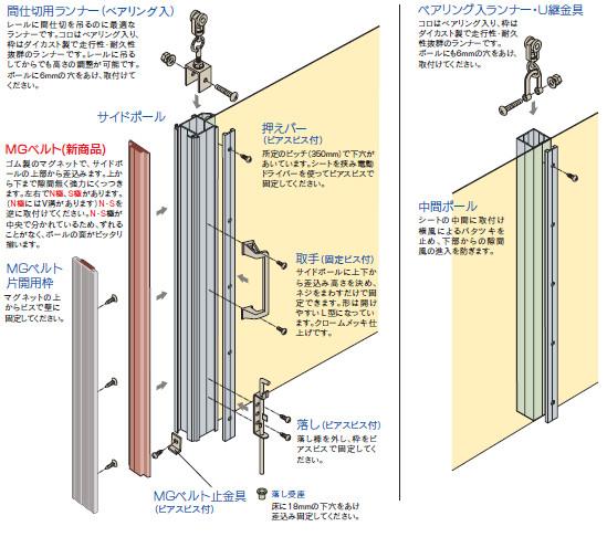 カーテン用・間仕切ポール【押えバータイプ】組み立て図